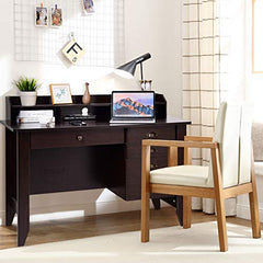 Tangkula Computer Desk Home Office Wood Frame Vintage Style Studyroom Student Table with Drawers Bookshelf PC Laptop Notebook Desk Spacious Workstation Writing Study Table (Brown) img 1