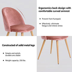 GreenForest Velvet Dining Chairs for Living Room, Modern Accent Leisure Upholstered Chairs Mid Century, Side Chairs Metal Legs with Wood Pattern, Mid-Back Support Pink Chairs, Set of 2 / Rose img 2