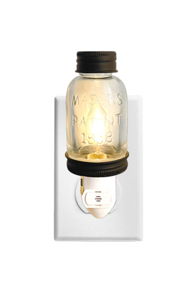 Rustic LED Mini Mason Jar Night Light | Auto On/Off Sensor | Quality Constuction with Embossed Glass and Metal | Energy Efficient LED Bulb | Classic T