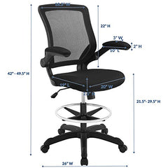 Modway Veer Drafting Chair In Black Mesh With Flip-Up Arms - Reception Desk Chair - Tall Office Chair img 1