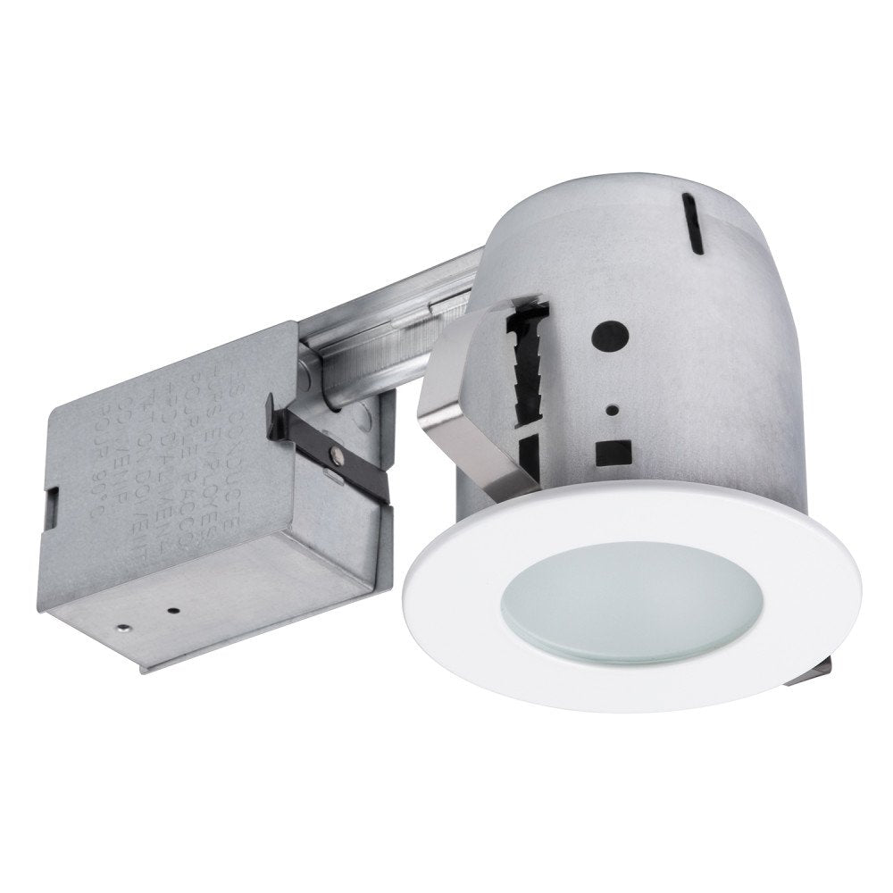"Globe Electric 90741 4"" White Led Recessed Bathroom Lighting Kit, Led Bulb Included, White"
