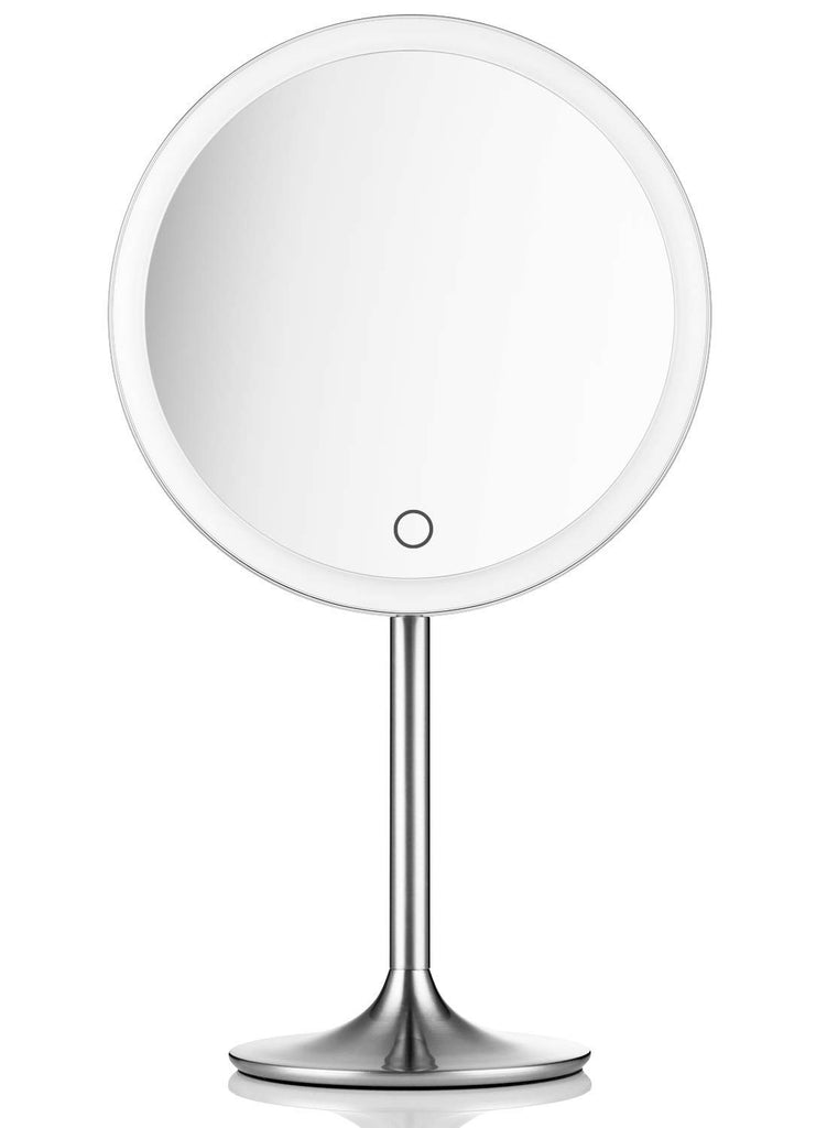 Miusco Lighted Makeup Vanity Mirror Pro, 5X + 10X Magnification, Ultra Bright HD Lighting System, Rechargable & Cordless, Touch Activated, Brush Stain