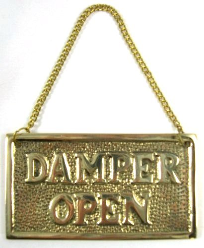 Hanging Solid Brass Fireplace Damper Open Closed Sign