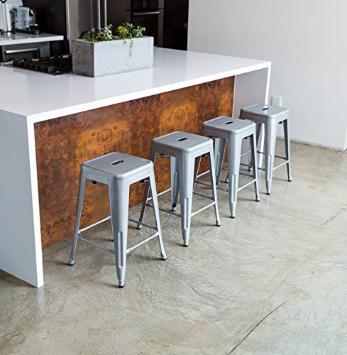 UrbanMod 24 Height 330lb Capacity Gray Kitchen Counter Chair Island Outdoor Industrial Galvanized Metal Bar Stools, Silver img 2