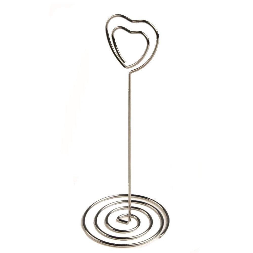 BERON Set of 20 3.5 Inch Wire Photo Clips with Heart-shaped Holder and Spiral Base for Tabletop Use (Silver)