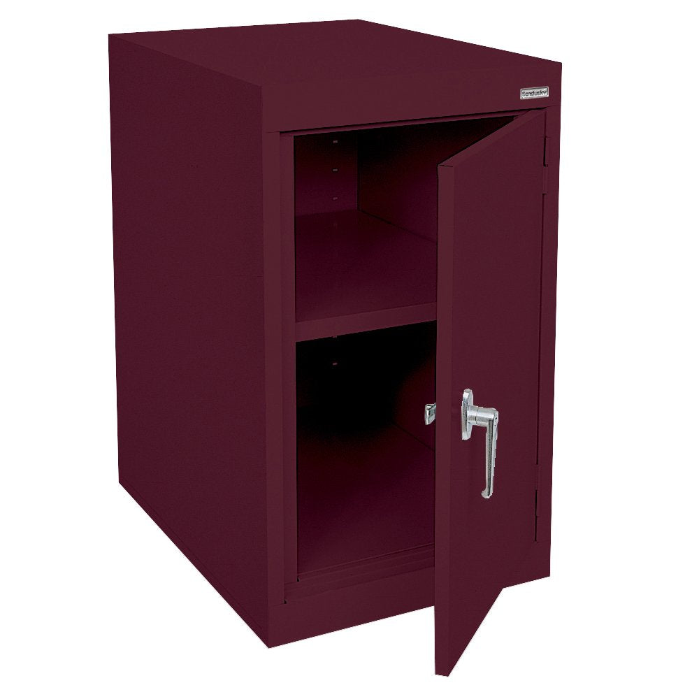 "Sandusky Lee EA11182430-03 Elite Series Desk Height Storage Cabinet, 2 Shelves, 18"" Width x 24"" Length x 30"" Height, Burgundy"