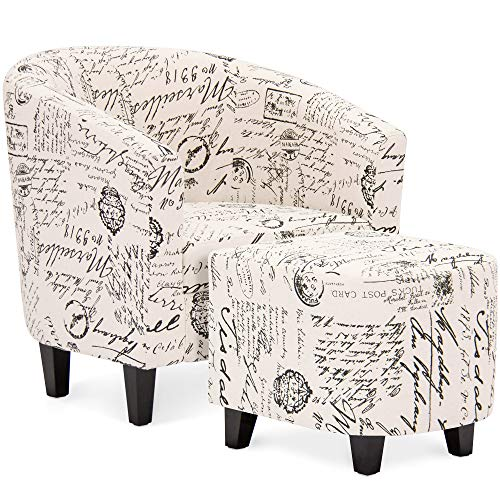 Best Choice Products Modern Contemporary Linen Upholstered Barrel Accent Chair Furniture Set for Home, Living Room w/Arms, Matching Ottoman, Birch Wood Legs - White, French Print Detail img 1