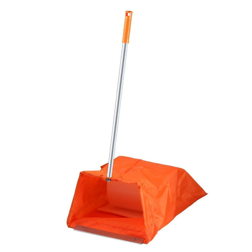 Windproof Garden Dustpan, Garbage Bag Dust Pan Sweeping Cleaning Tools with Long Handle/Large Capacity/Reusable Washable Bag/Easily Clean Up Rake Shov
