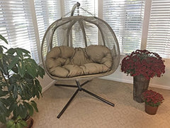 Flower House FHPC100-BRK Hanging Pumpkin Loveseat Chair with Stand, Bark img 2