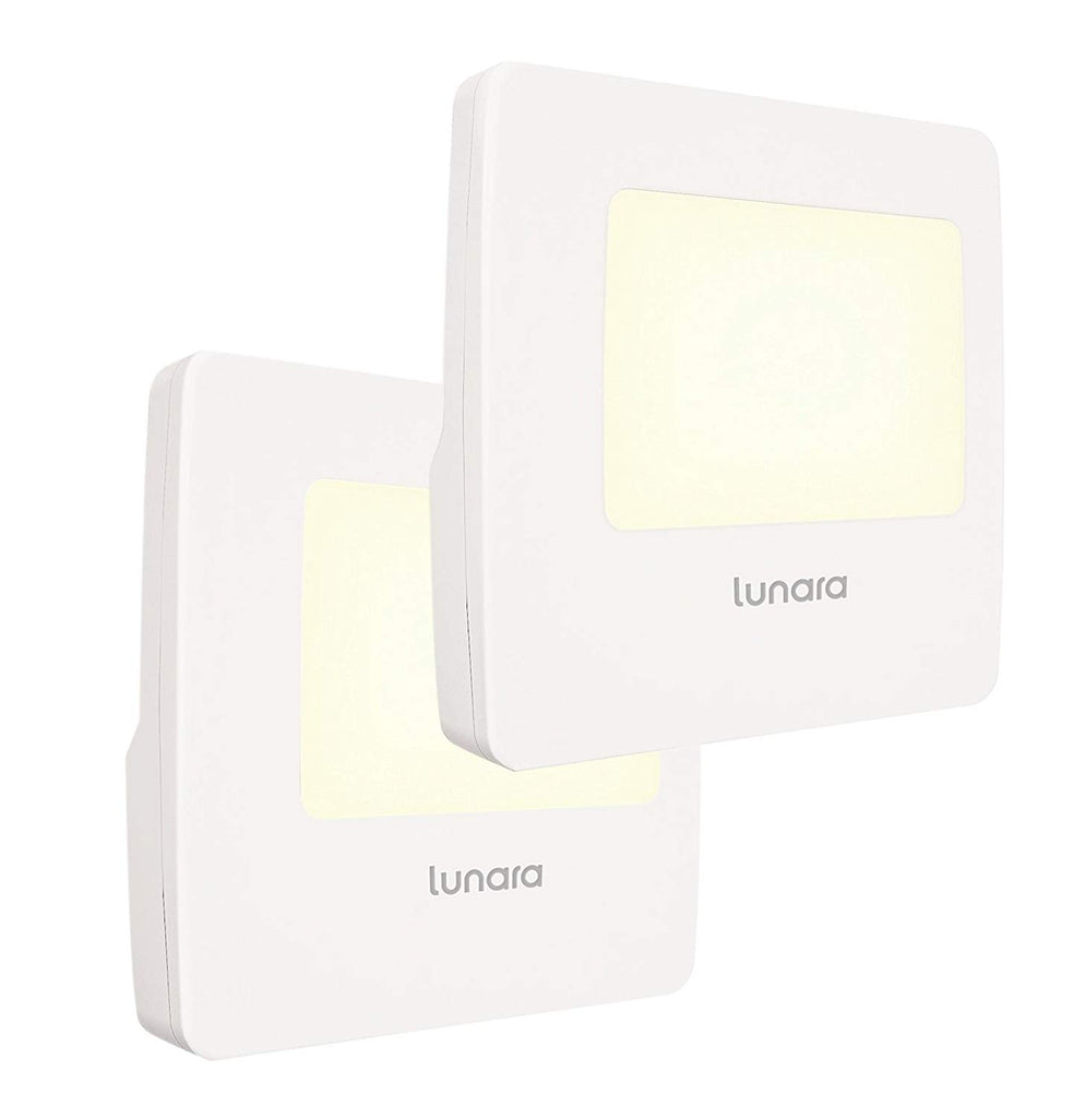 Lunara Plug-In LED Night Light, WARM White Nightlights with Dusk to Dawn Sensor for Hallways, Bathrooms, Kitchen, Stairs, Energy Efficient and Compact