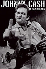 Buyartforless Johnny Cash (Middle Finger) at San Quentin 36x24 Music Art Poster Print Guitar Famous b&w Black and White