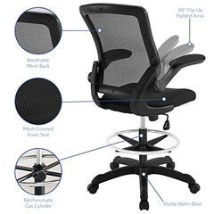 Modway Veer Drafting Chair In Black Mesh With Flip-Up Arms - Reception Desk Chair - Tall Office Chair img 3
