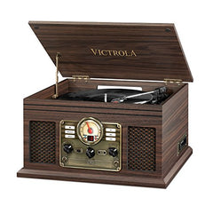 Victrola Nostalgic Classic Wood 6-in-1 Bluetooth Turntable Entertainment Center, Graphite