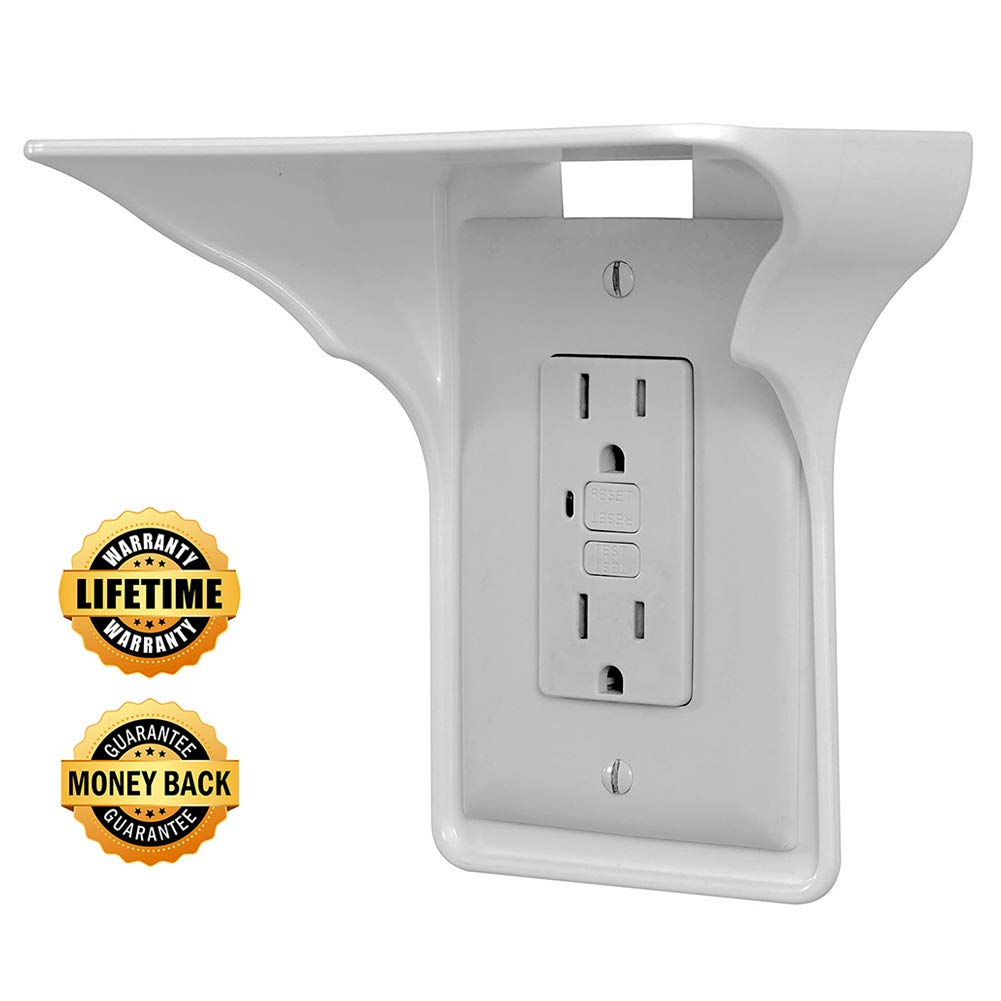 Power Perch Wall Outlet Shelf - Storage Theory Space Saving Solution - Ultimate Power Socket Charging Shelf Wall Organizer (White)