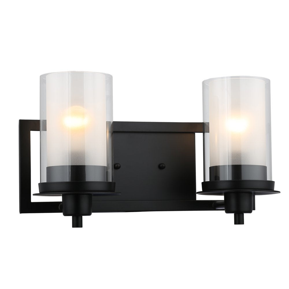 Designers Impressions Juno Matte Black 2 Light Wall Sconce/Bathroom Fixture with Clear and Frosted Glass: 73483