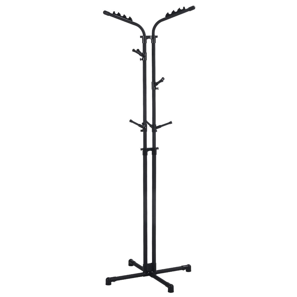 LCH Metal Coat Rack Free Display Stand Hall Tree with 3 Tiers and 12 Hooks for Clothes Scarves Purses and Hats (Steel Black)