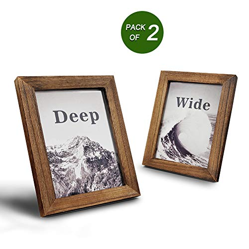 Emfogo Picture Frames 5x7 Solid Wood Photo Frames and High Definition Glass Display Pictures for Table Top Display and Wall Mount Wood img 1