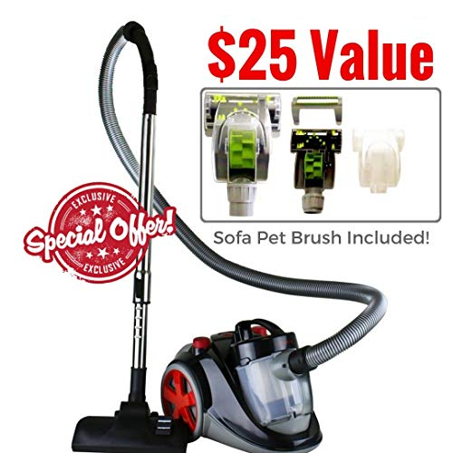 Ovente Bagless Canister Cyclonic Vacuum with HEPA Filter, Comes with Pet/Sofa Brush, Telescopic Wand, Combination Bristle Brush/Crevice Nozzle and Retractable Cord, Featherlite, Corded (ST2010) img 1