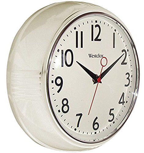 Westclox 32042W Retro Wall Clock, White, 9.5""