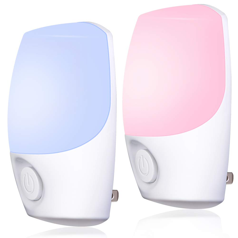 Color Selected Plug in Night Light, Emotionlite Color-Changing LED Nightlight, Dusk to Dawn Sensor, Color Roation, Fixed Color, Warm White by Switch.