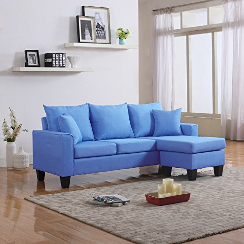 Divano Roma Furniture Modern Linen Fabric Small Space Sectional Sofa with Reversible Chaise (Orange)