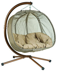 Flower House FHPC100-BRK Hanging Pumpkin Loveseat Chair with Stand, Bark img 1