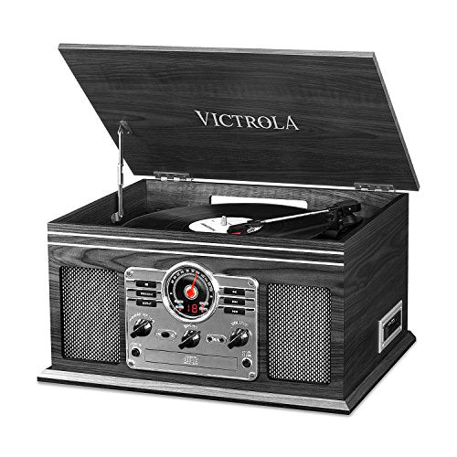 Victrola Nostalgic Classic Wood 6-in-1 Bluetooth Turntable Entertainment Center, Graphite img 1