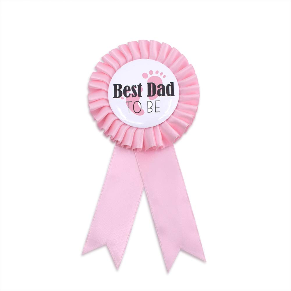"""Best Dad to be"" Tinplate Badge Pin - Baby Shower Party Buttons New Dad Gifts Gender Reveals Party Favors Baby Girl Pink Rosette Button Baby Celebrati"