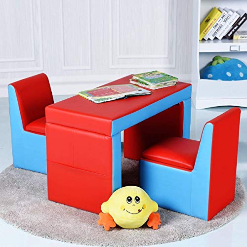 Costzon Kids Sofa, 2-in-1 Multi-Functional Kids Table & Chair Set, 2 Seat Couch with Storage Box for Boys & Girls img 1