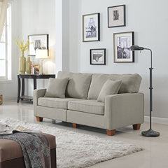 Divano Roma Furniture 73 �Inch Love Seat Linen Fabric Sofa, Light Grey