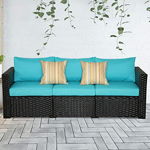 3-Seat Patio Wicker Sofa - Outdoor Rattan Couch Furniture w/Steel Frame and Turquoise Cushion img 1