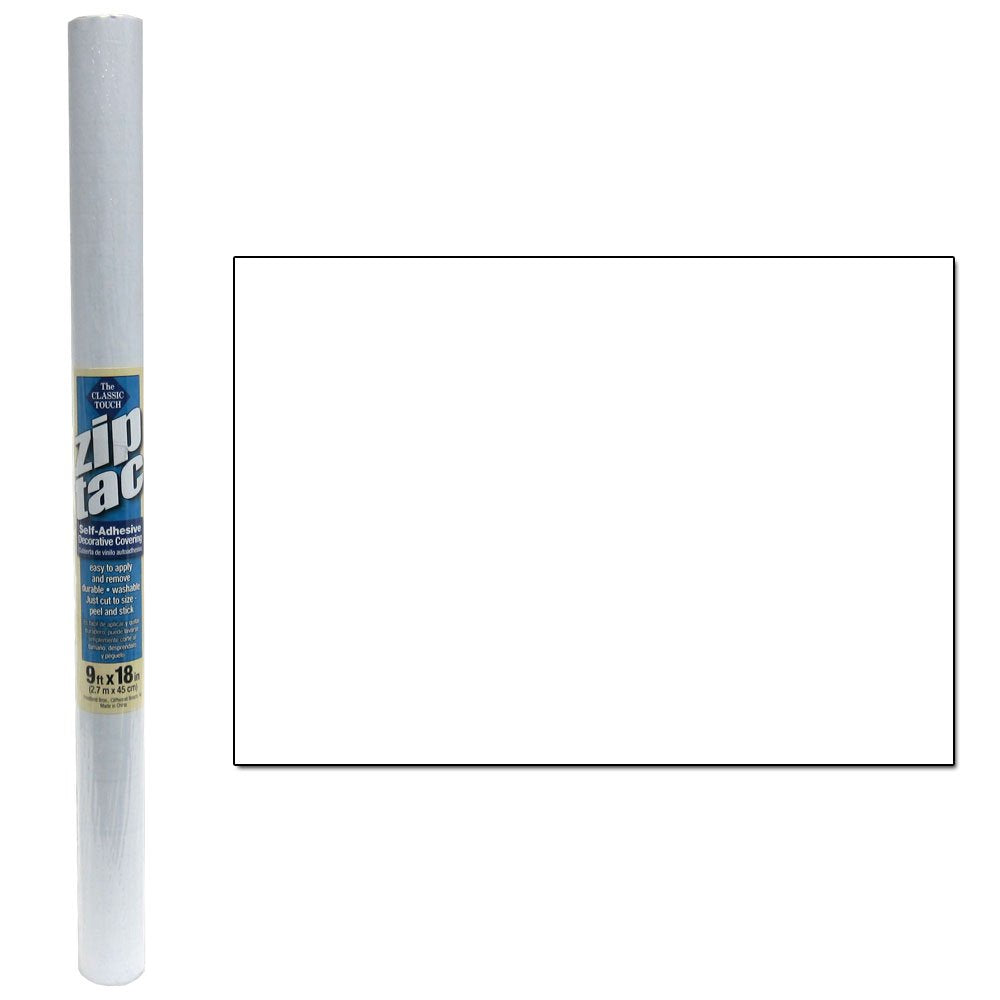 Zip Tac Self-Adhesive Shelf Liner - 9ft x17.75in (Frosted Clear) by Classic Touch