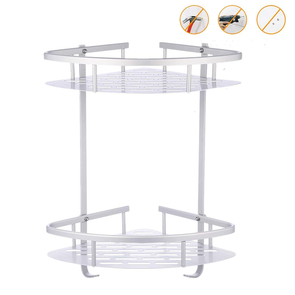 FOSEN Bathroom Shower Shelf (No Drilling) - Durable Aluminum 2 Tiers Shower Shelf Kitchen Storage Basket Adhesive Suction Corner Shelves Shower Caddy