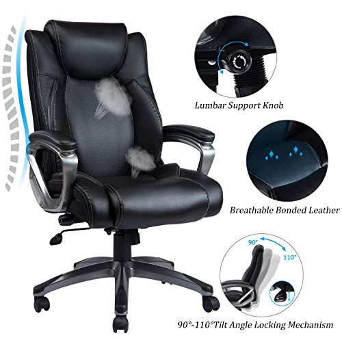 VANBOW Extra High Back Mesh Office Chair - Adjustable Arms Ergonomic Computer Desk Task Chair with Padded Leather Headrest and Lumbar Support (Black-Mesh)
