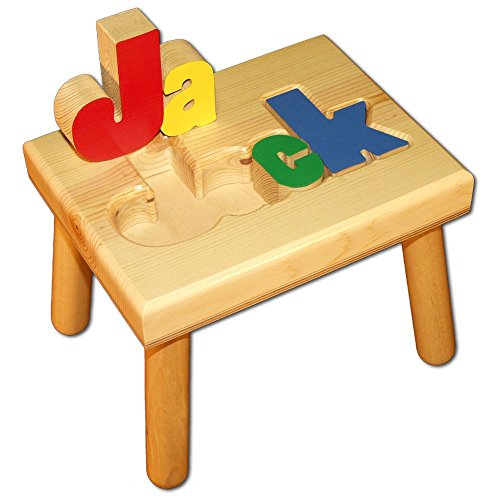 Damhorst Toys & Puzzles Personalized Wooden Child's Name Puzzle Stool Primary Colors img 1