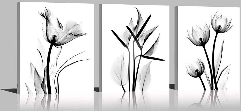 YPY Rose Wall Art for Bedroom Floral Flower Black White Oil Painting Printed on Canvas Artwork Pictures Ready to Hang (Yellow, 16x24in)