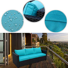 3-Seat Patio Wicker Sofa - Outdoor Rattan Couch Furniture w/Steel Frame and Turquoise Cushion img 2