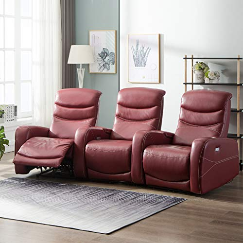 FDW Recliner Sofa Living Room Set Leather Sofa Recliner Couch Manual Reclining Sofa and Sofa (3 Seater) for Home Furniture