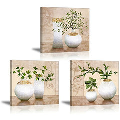 3 Piece Wall Art for Bathroom/Hallway, SZ HD Elegant Canvas Painting Prints of Green Spring Plants in Vases on Beige/Tan Picture (Waterproof Decor, 1
