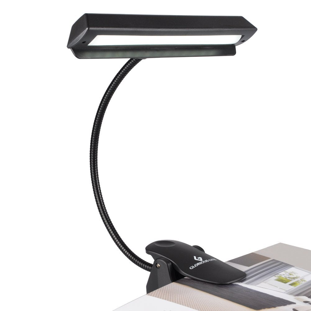 GLORIOUS-LITE 14 LED Music Stand Lights/Piano Light/Clip on Light, 2 Levels of Brightness Bed Light, USB and Battery Operated Book Reading Light for P