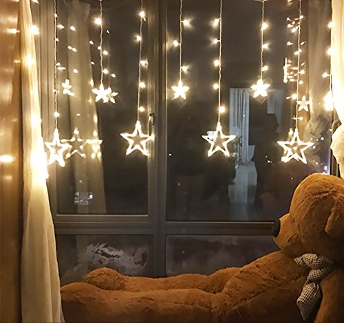 Twinkle Star 12 Stars 138 LED Curtain String Lights, Window Curtain Lights with 8 Flashing Modes Decoration Christmas, Wedding, Party, Home, Patio Lawn, Warm White img 2