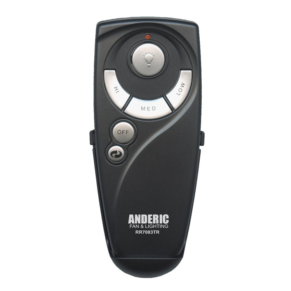 Hampton Bay UC7083T Ceiling Fan Remote Control Replacement by Trusted Anderic Brand - 1-Year Warranty - Black (With Reverse Key (Light, Reverse, High,