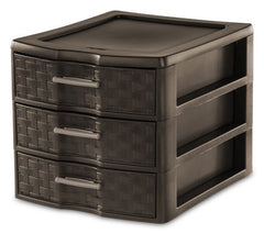 Sterilite Medium 3-Drawer Weave Unit, Espresso, Set of 4