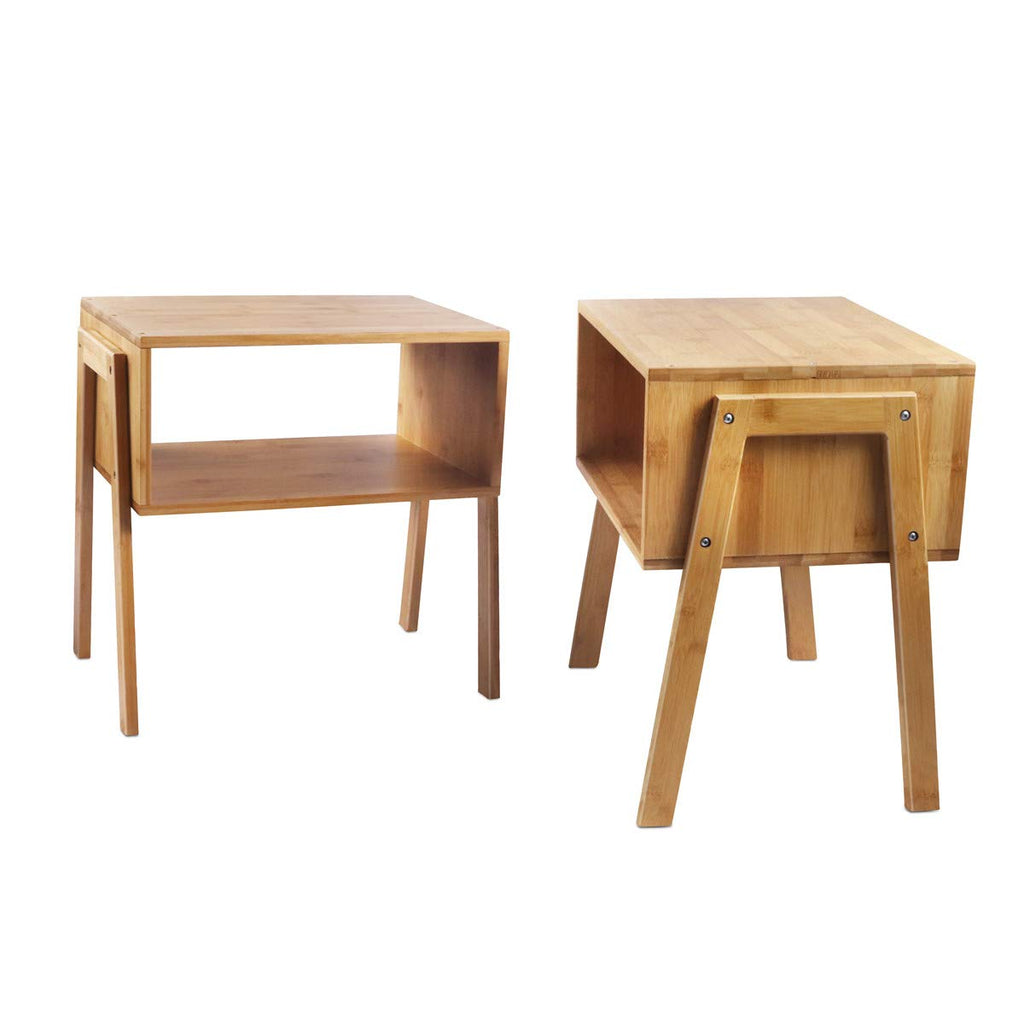 LASUAVY Bamboo Nightstand Stackable End Table Bedside Table, Set of 2