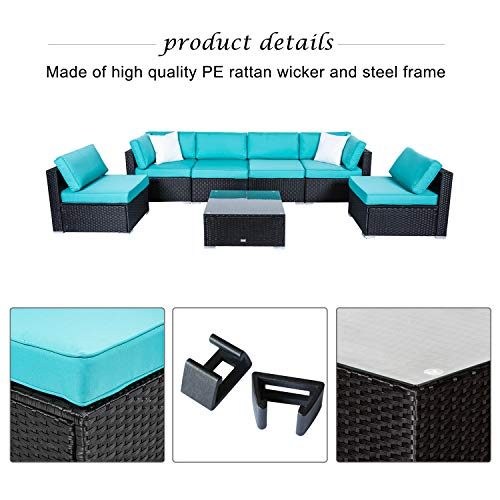 Peach Tree 7 PCs Outdoor Patio PE Rattan Wicker Sofa Sectional Furniture Set With 2 Pillows and Tea Table img 2