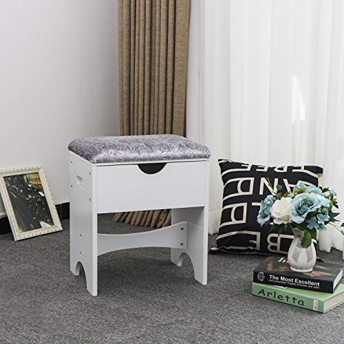 BEWISHOME Vanity Stool Bedroom Makeup Vanity Bench Piano Seat with Upholstered Seat and Storage, White FSD01M img 1