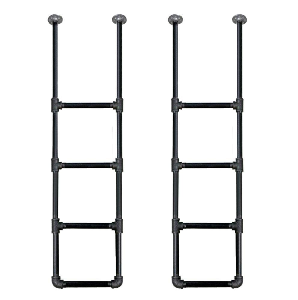 FOF Industrial Black Pipe Bookshelf, Wall/Ceiling Mounted Open Bookshelf, Parts Kit DIY Project, 2 Units- 52