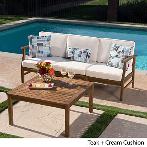 Lorelei Outdoor 3 Seater Teak Finished Acacia Wood Sofa and Table Set with Cream Water Resistant Cushions img 2