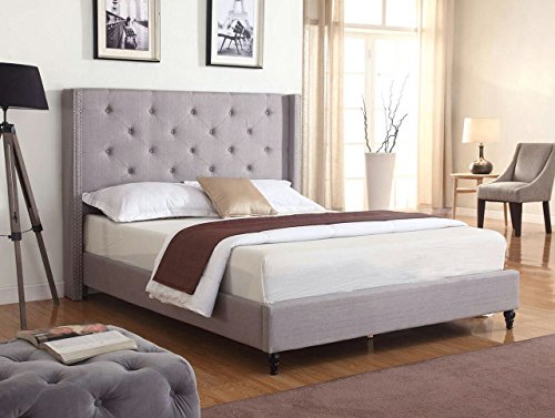 "Life Home Premiere Classics Cloth Light Grey Silver Linen 51"" Tall Headboard Platform Bed with Slats Queen - Complete Bed 5 Year Warranty Included img 1"