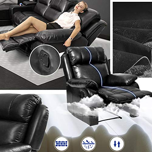 FDW Recliner Sofa Living Room Set Leather Sofa Recliner Couch Manual Reclining Sofa and Sofa (3 Seater) for Home Furniture img 4